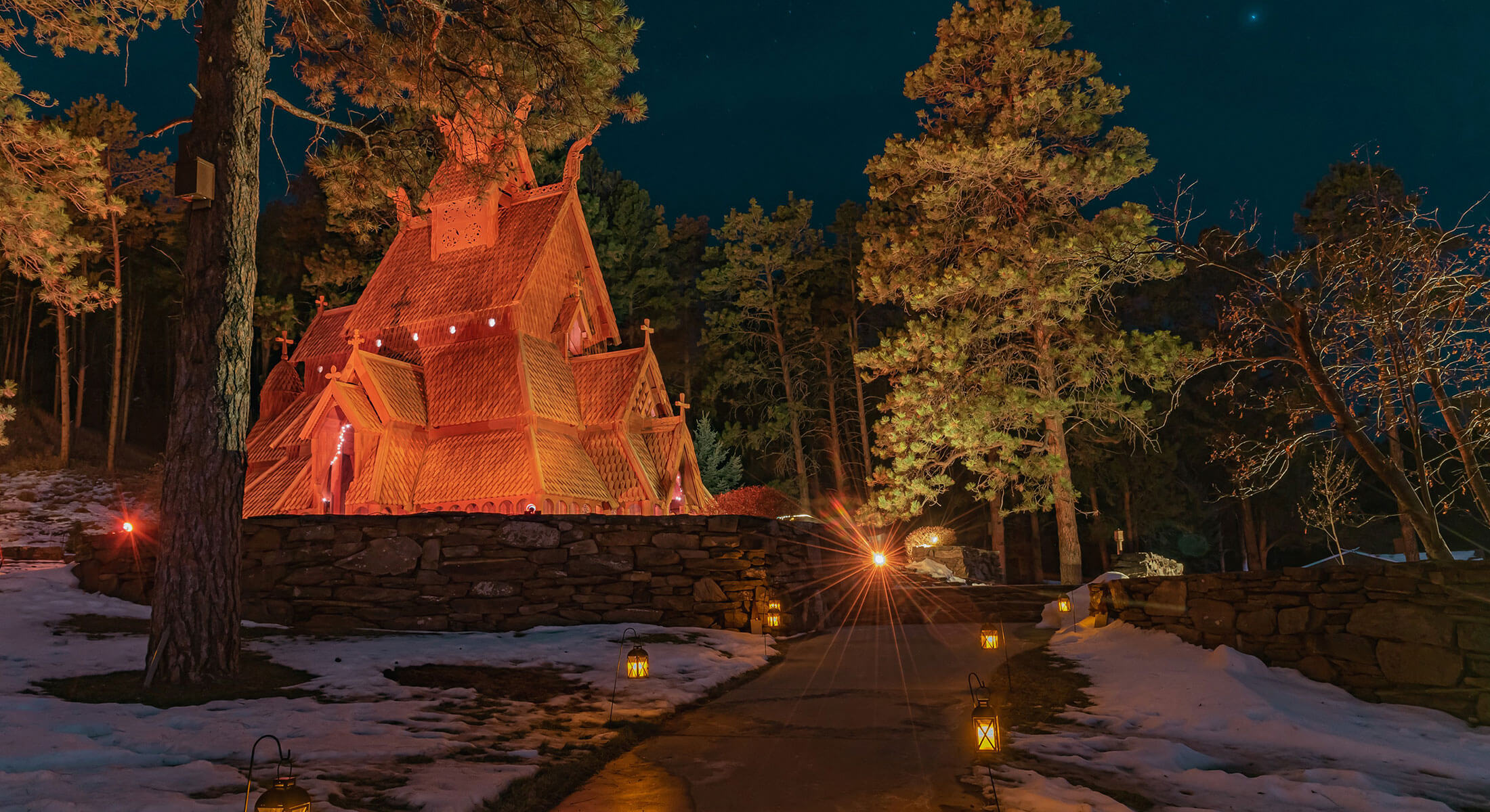 Chapel in the Hills Lit Up for Christmas
