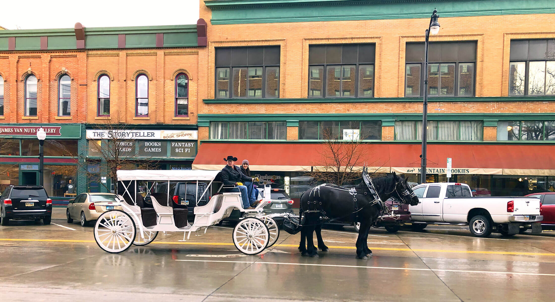 Black Hills Buggies going through Downtown Rapid City