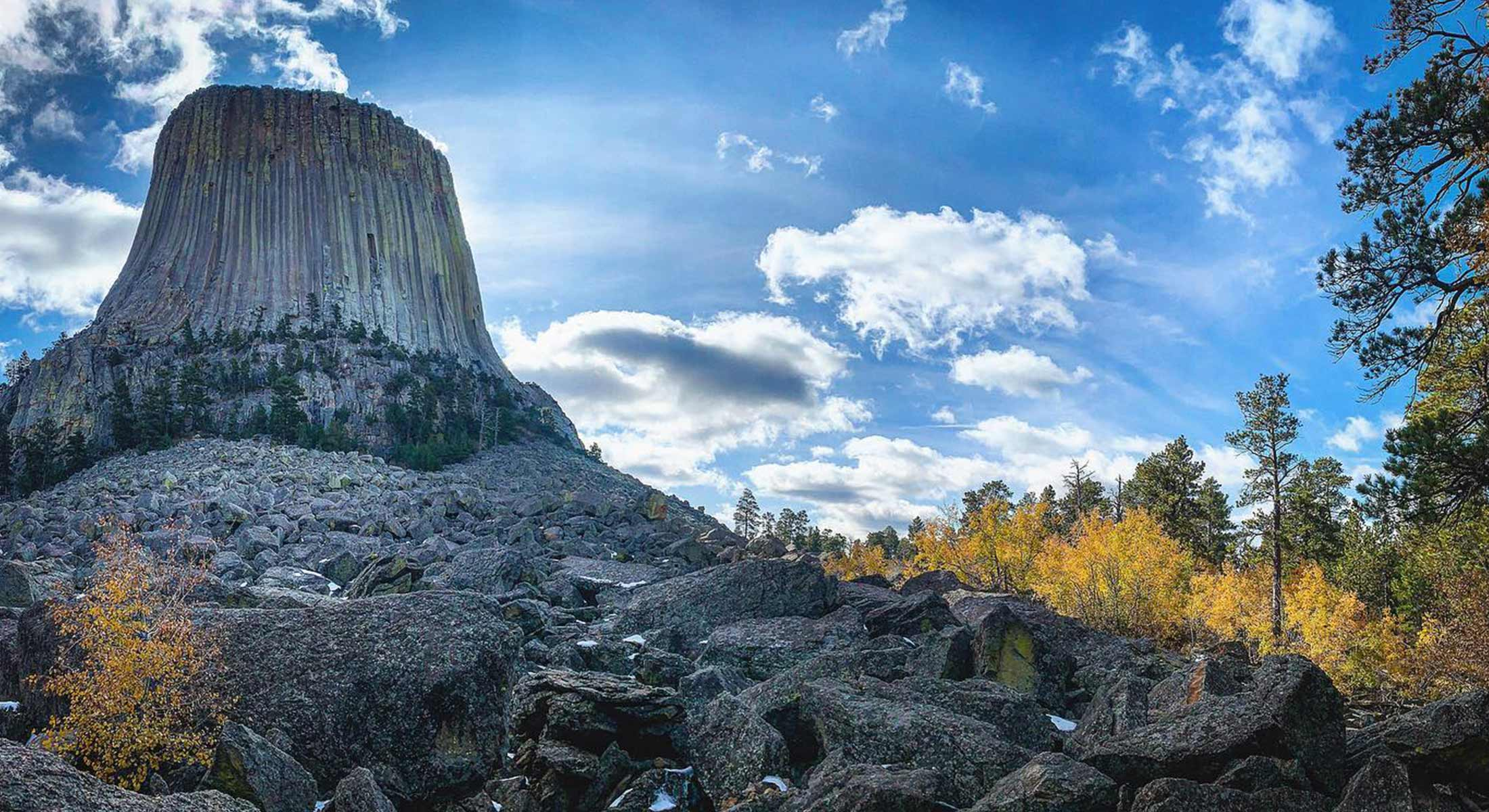 Low angle of fall at Devils Tower National Monument