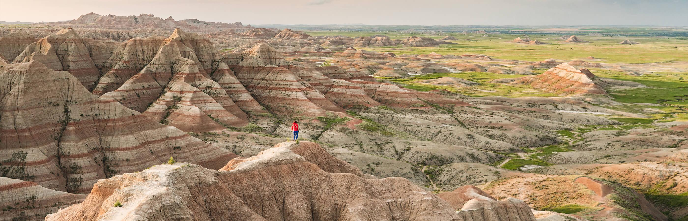 Woman hiking in the Badlands National Park