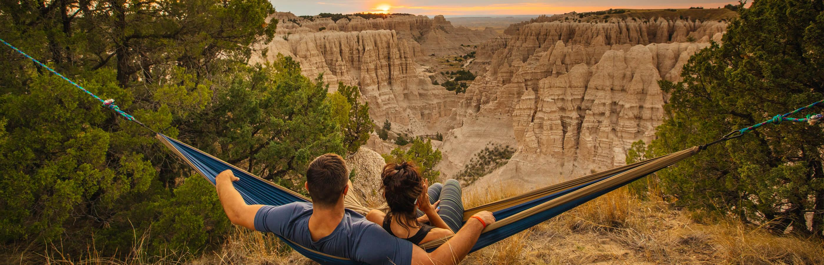 Man and Woman in a Hammock at Badlands National Park
