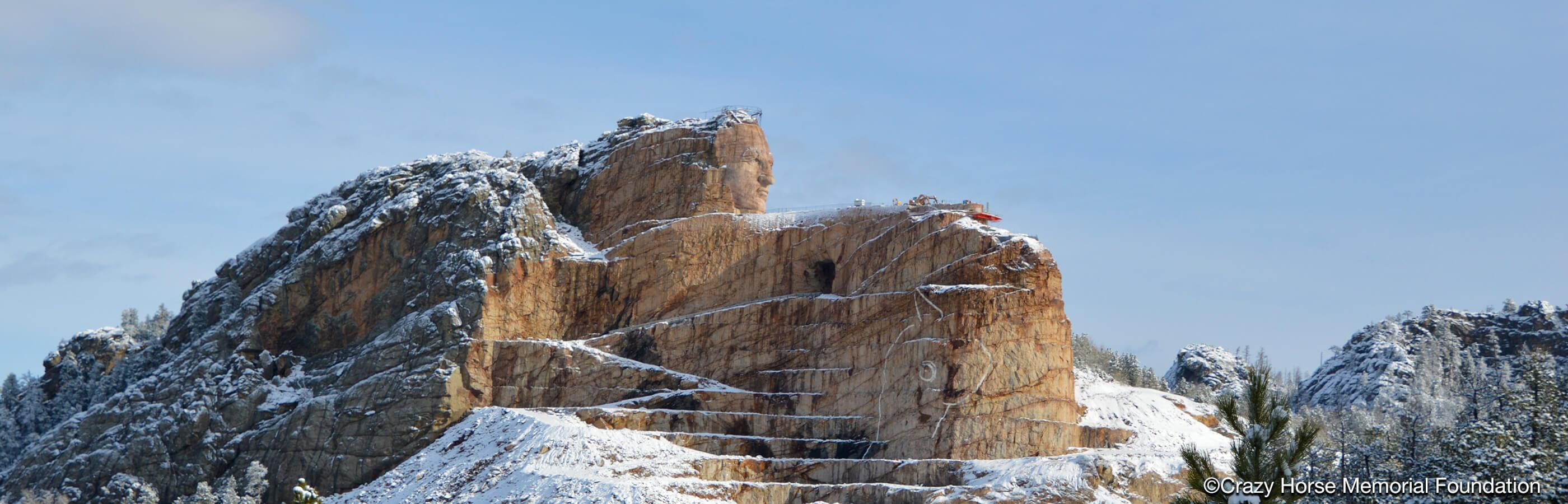 Crazy Horse memorial during the winter