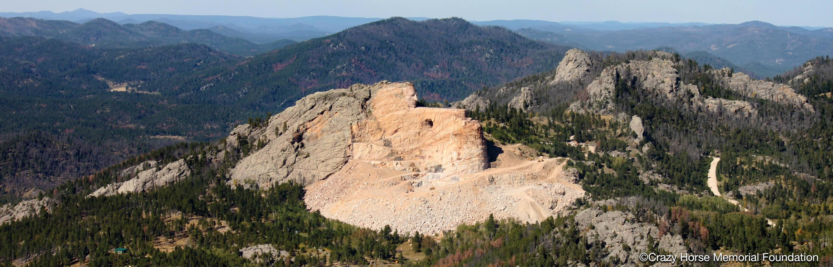 Aerial Shot of Crazy Horse Memorial