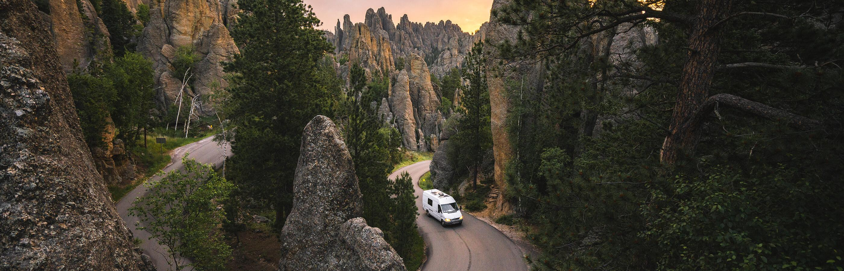 Van Driving Through Needles Highway