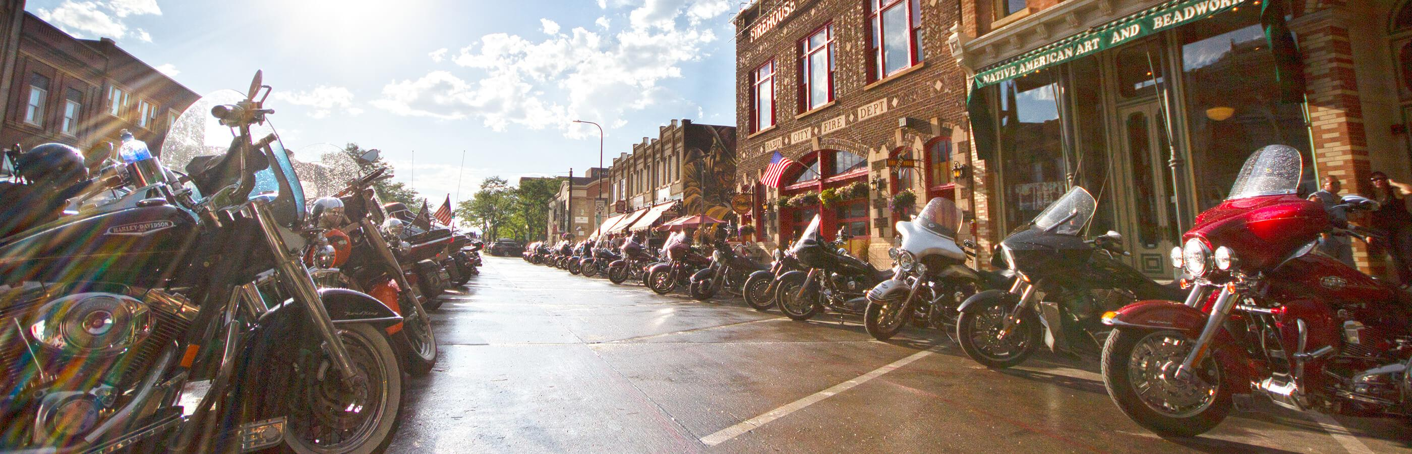 Motorcycles Parked In Downtown Rapid City
