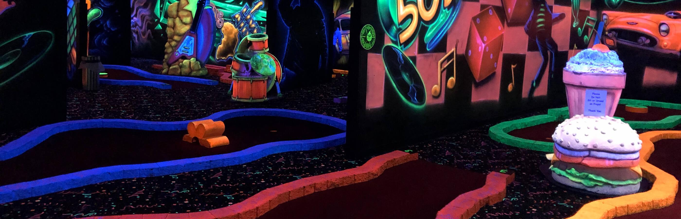 Black Light Mini Golf Course Inside Putz N Glo
