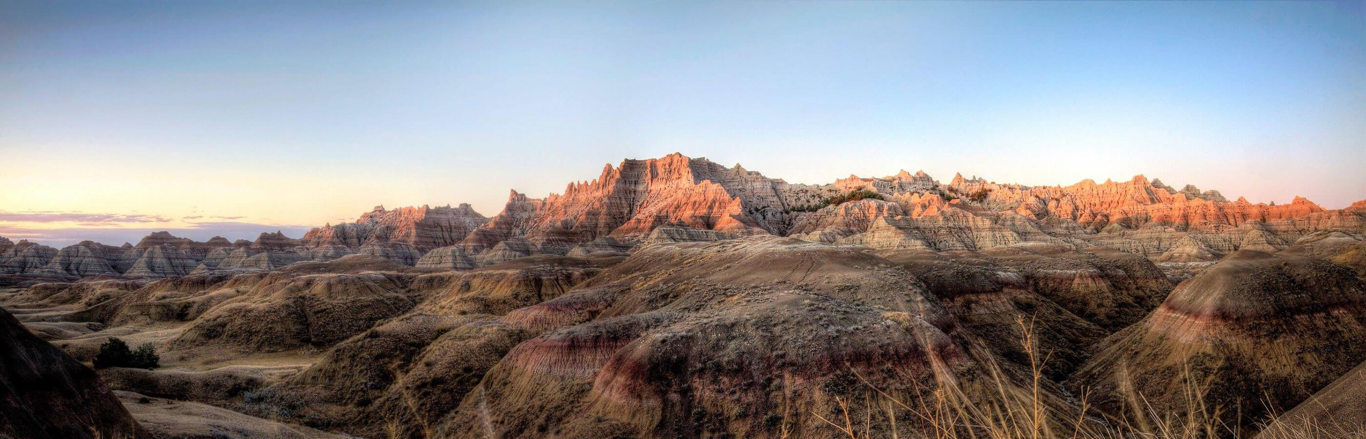 Sunrise hitting Badlands National Park in South Dakota