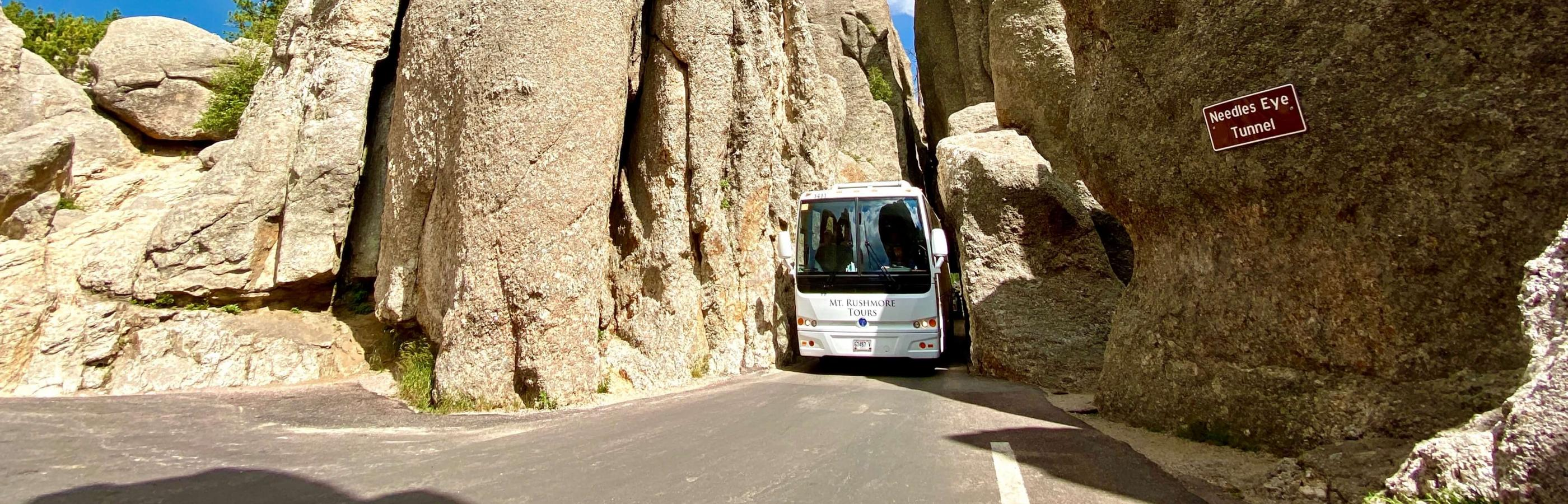 Mount Rushmore Tour Bus Driving through a tunnel at the Needles Highway