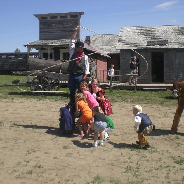 kids playing at 1880 town