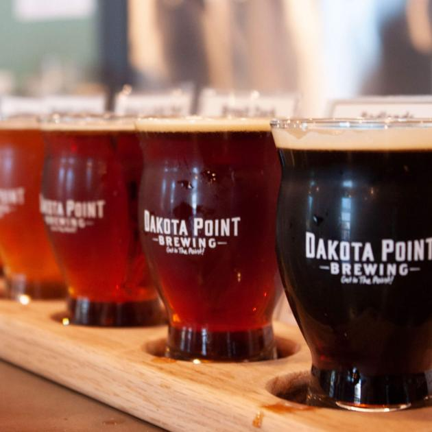 Flight of beer from Dakota Point Brewing in Rapid City