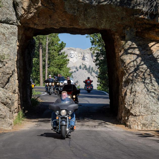 Motorcycles driving on Iron Mountain Road