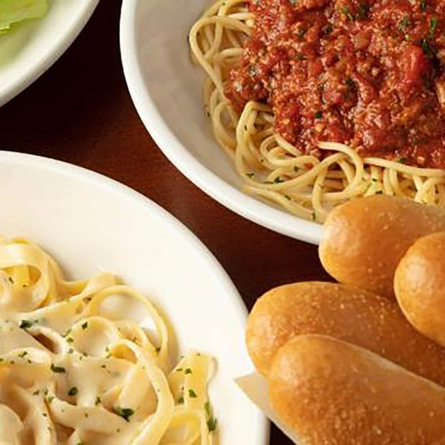 Pasta and Breadsticks From Olive Garden