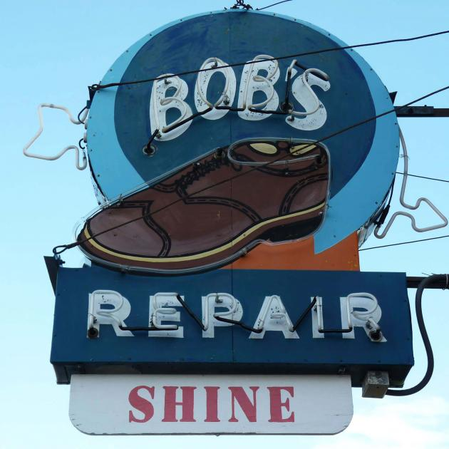 Neon sign outside of Bob's Shoe Repair in Downtown Rapid City