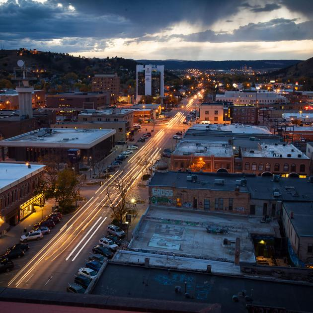 Night shot of Downtown Rapid City