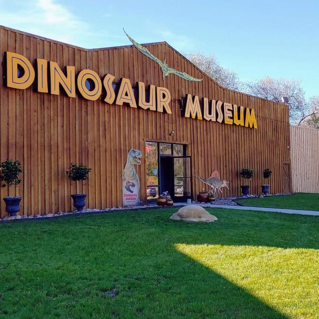 Exterior of the Dinosaur Museum located on Hwy 16 outside of Rapid City