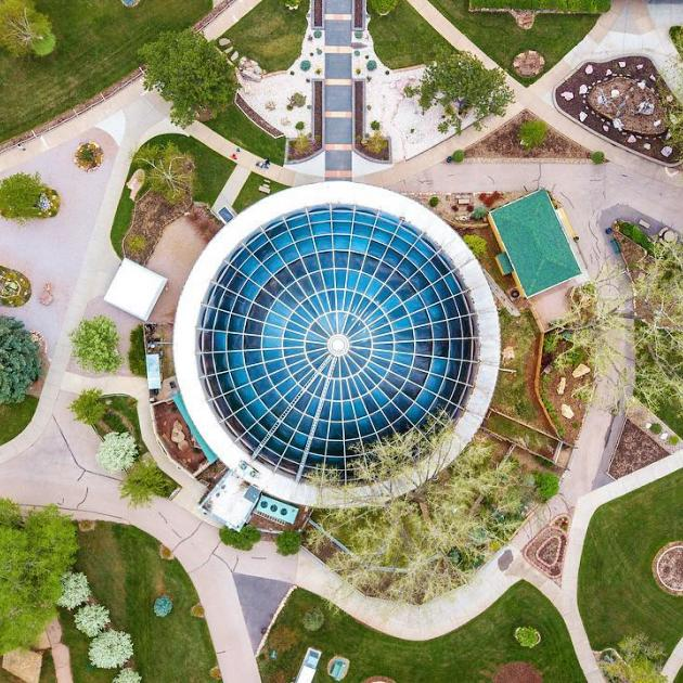 Drone shot of the Reptile Gardens grounds