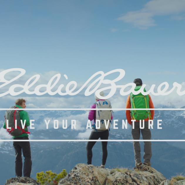 Eddie Bauer Logo with People on a mountain