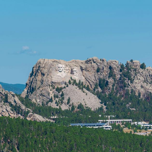 Distant shot of Mount Rushmore National Memorial
