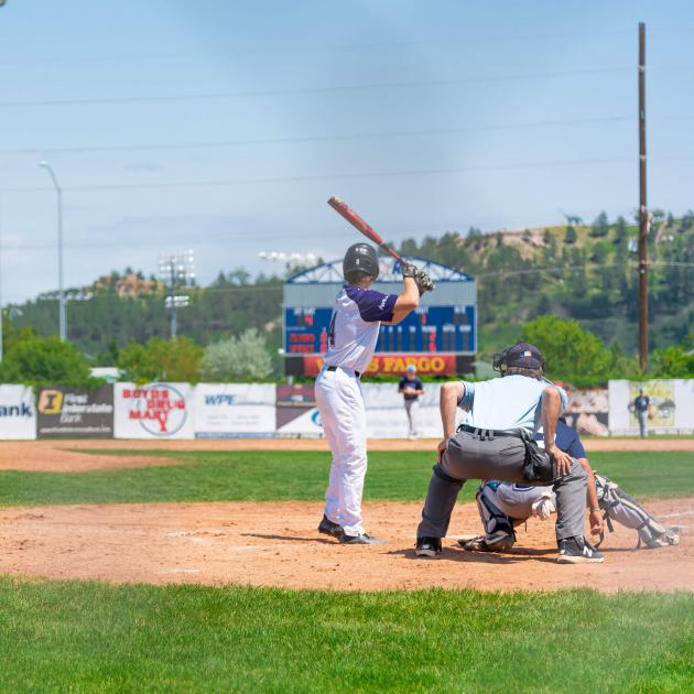 Baseball players at Pete Lien Memorial Field in Rapid City