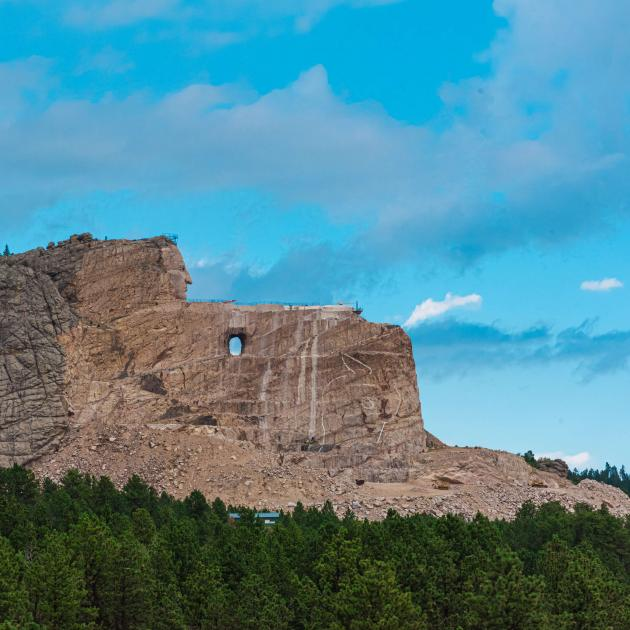 Distant view of Crazy Horse Memorial